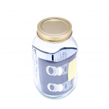 Jam Jar 1L With 2 Piece Gold Lid