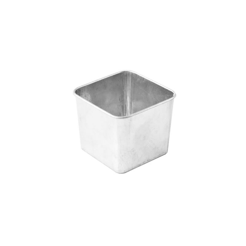 Galvanised Steel Square Bucket 0.3L 8 x 8 x 6cm