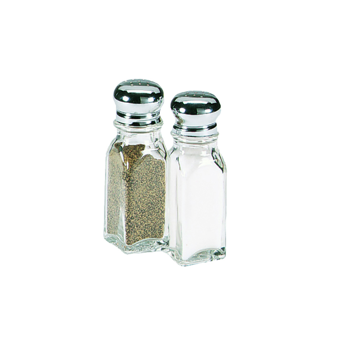 2 oz 'Nostalgic' Salt/Pepper Shaker. Chrome Top + Glass Jar