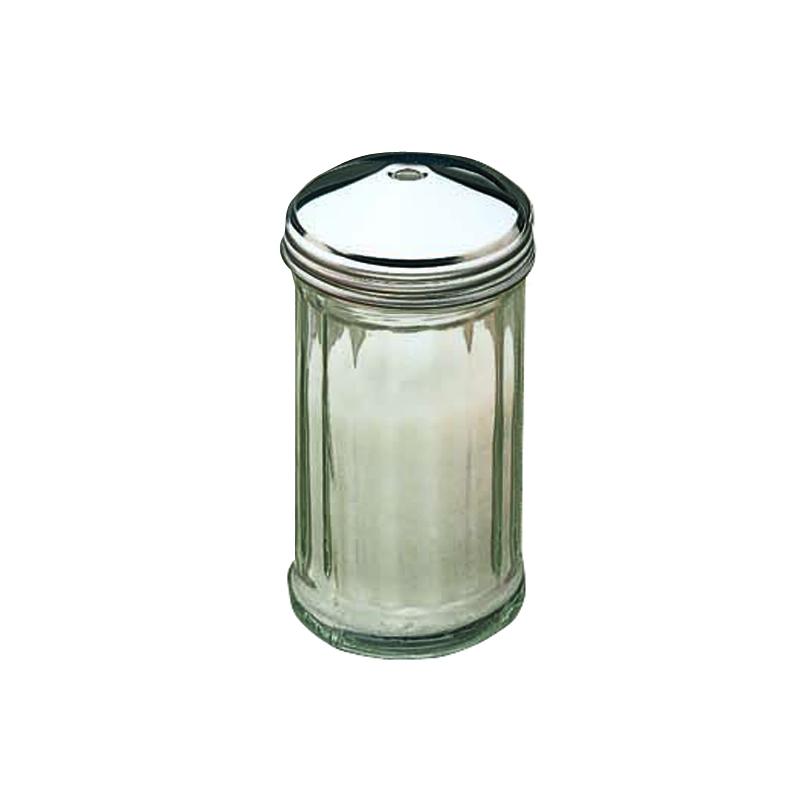 12 oz Glass Centre Hole Sugar Pourer. S/S top + glass jar