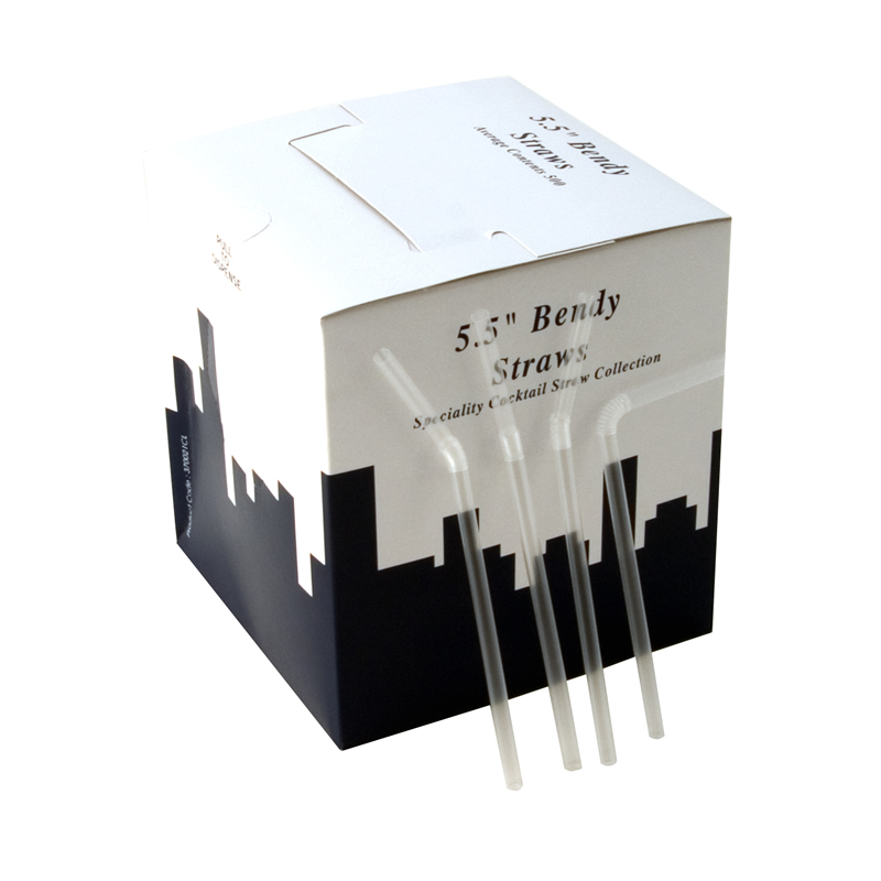 5.5 Inch Bendy Straw Clear Box Of 500