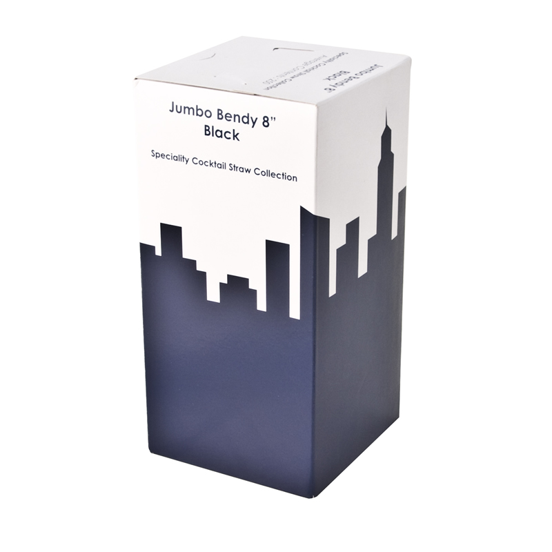 8 Inch Jumbo Bendy Straw Black Box Of 250