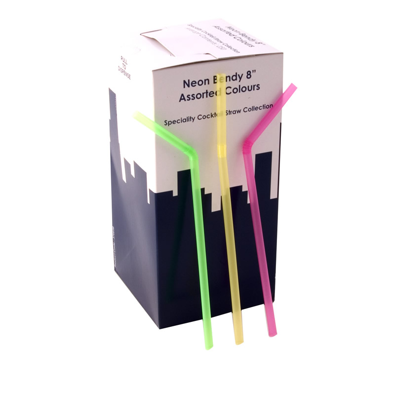 8 Inch Jumbo Bendy Straw Neon Assorted Box Of 250