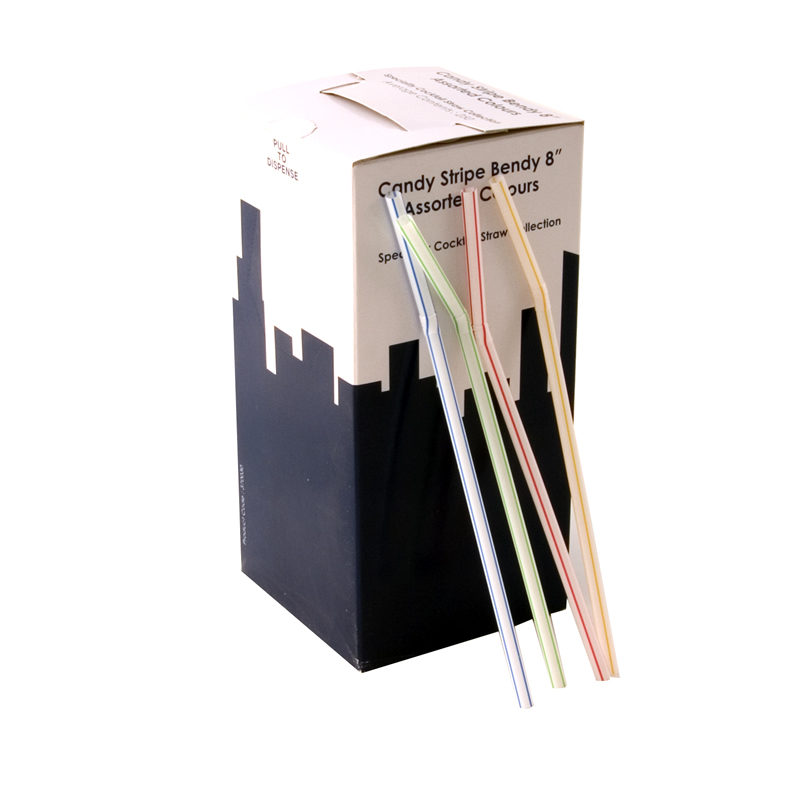8 Inch Jumbo Bendy Straw Candy Stripes Box Of 250