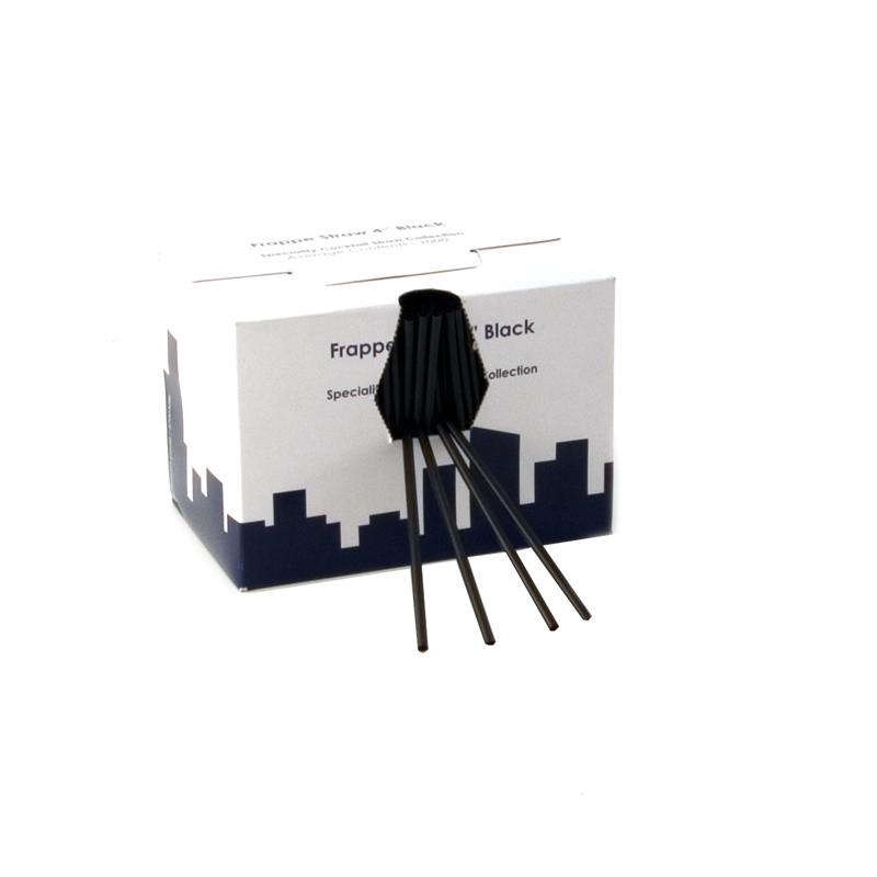 4 Inch Frappe Straw Black Box Of 1000